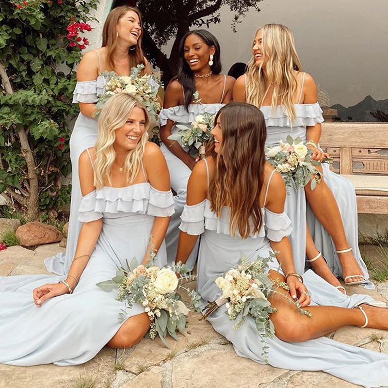 Simple Straps Off Shoulder Light Blue Chiffon Long Cheap Bridesmaid Dresses, BDS0122