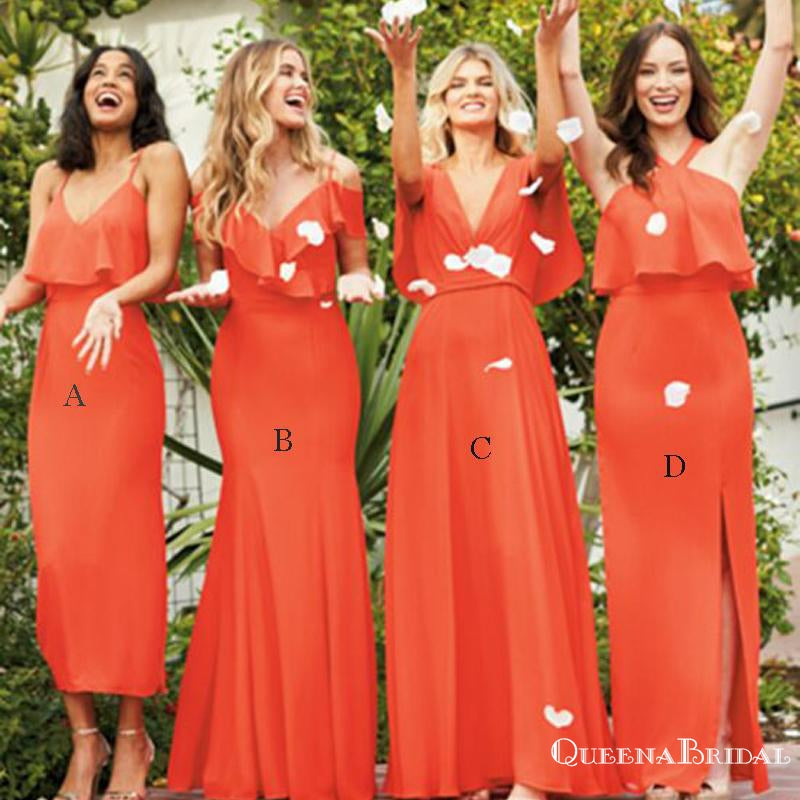 Mismatched Burnt Orange Chiffon A-line Long Cheap Wedding Bridesmaid Dresses, BDS0016