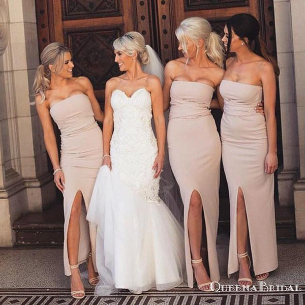 Strapless Mermaid Double FDY Charming Long Cheap Bridesmaid Dresses, BDS0053