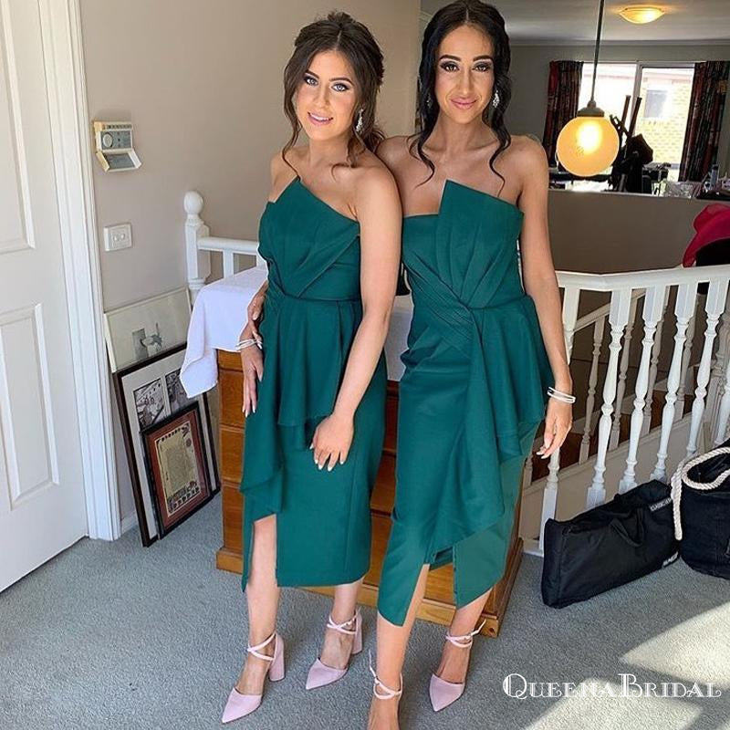 Simple Charming Sweetheart Green Satin A-line Long Cheap Tea-Length Bridesmaid Dresses, BDS0036