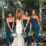 Mismatched Teal Double FDY Mermaid Long Cheap Bridesmaid Dresses, BDS0055