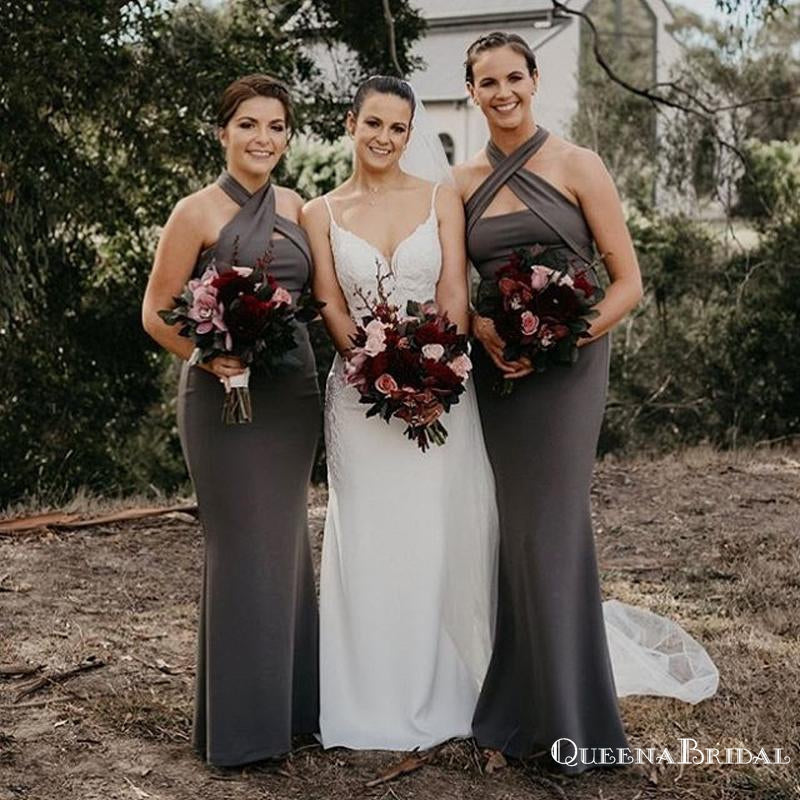 Charming Simple Grey Jersey Mermaid Long Cheap Bridesmaid Dresses, BDS0042