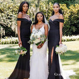 Black Off-The-Shoulder Side Slit Mermaid Cheap Bridesmaid Dresses, BDS0093