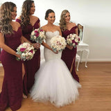 Mermaid Off-Shoulder Long Cheap Burgundy Lace Bridesmaid Dresses Online, QB0120