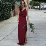 Elegant V-Neck Long Cheap Spaghetti Strap Burgundy Bridesmaid Dresses Online, QB0008