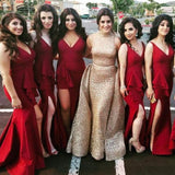 Mermaid V-Neck Side Split Burgundy Long Cheap Bridesmaid Dresses with Ruffles, QB0124