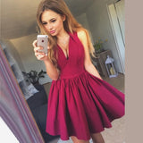 Simple A-Line V-Neck Short Cheap Burgundy Zipper Homecoming Dresses, QB0051
