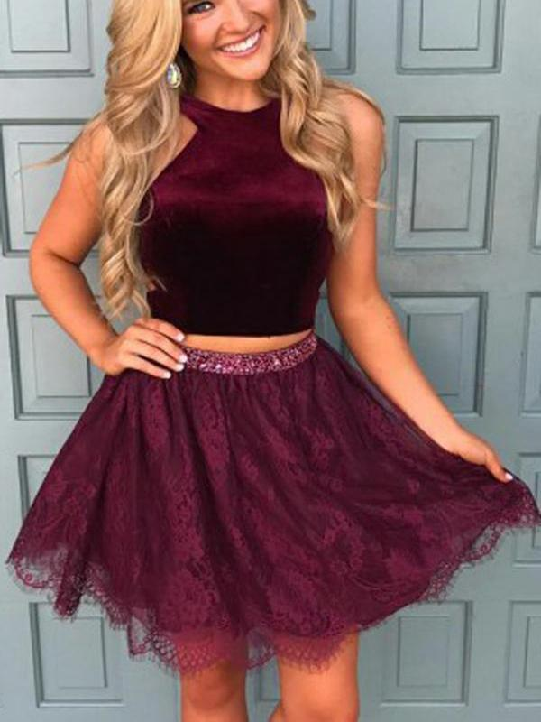Halter Two Piece Red Lace Cheap Homecoming Dresses 2020, CM413
