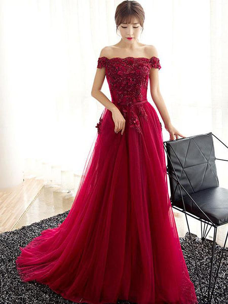 8e5a2ad48d4 Charming Off Shoulder Red Lace Beaded A-line Long Evening Prom Dresses,  QB0368