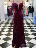 Charming Mermaid Spaghetti Straps Cross Back Split Velvet Burgundy Long Prom Dresses, QB0601