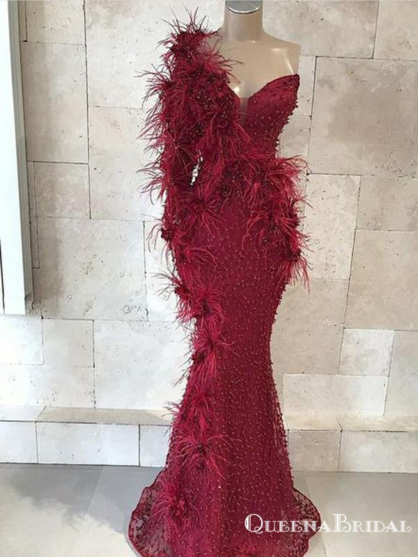 Newest Burgundy One shoulder Long Sleeves Mermaid Tulle Heave Beaded Long Cheap Prom Dresses, QB0921