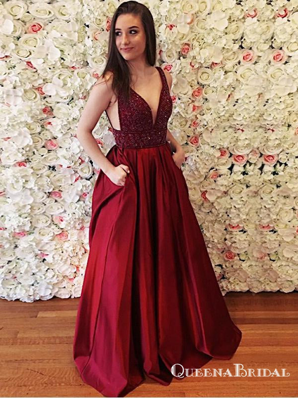A-Line V-Neck Long Burgundy Satin Prom Dresses with Beading Pockets, QB0550