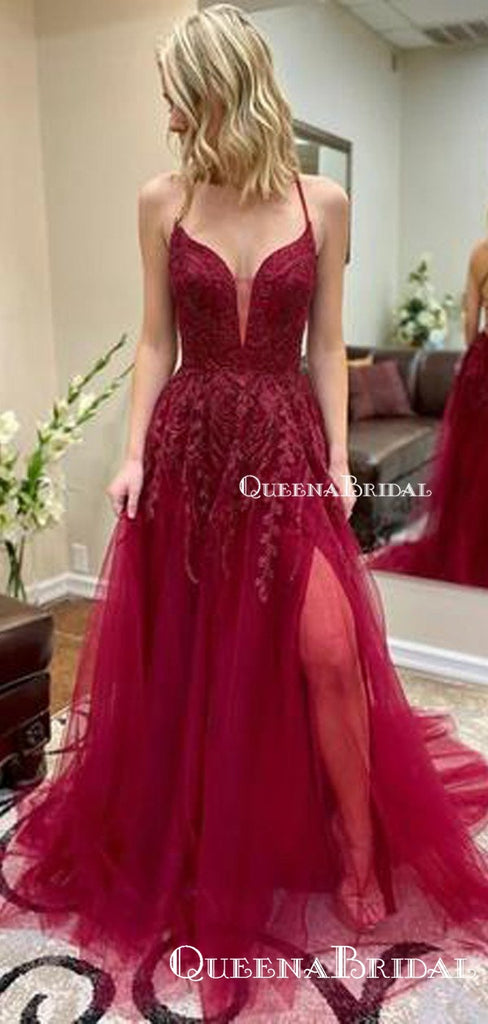 New Arrival A Line Sexy Spaghetti Straps Red Tulle Side Slit Long Cheap Charming Prom Dresses With Appliques, PDS0052
