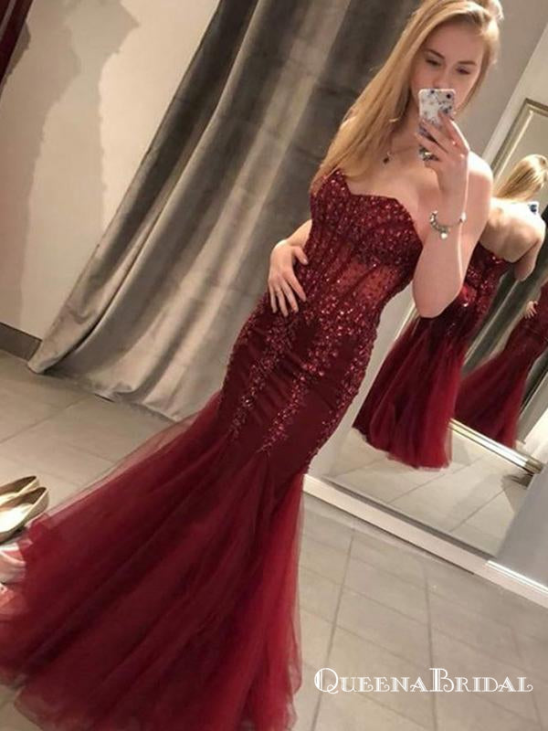 Charming Mermaid Sweetheart Long Burgundy Prom Dresses with Appliques, QB0527