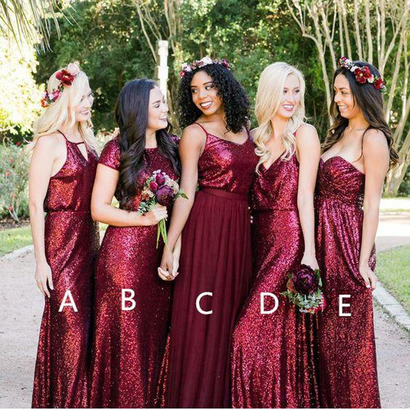 Mismatched Dark Red Sequin Custom Long Bridesmaid Dresses, WG223