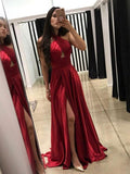 Simple Burgundy Halter Side Slit Long Cheap Evening Prom Dresses, QB0393