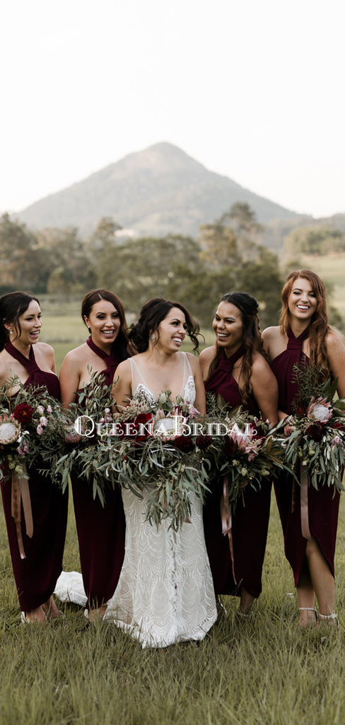 Sexy Halter Burgundy Side Slit Long Cheap Bridesmaid Dresses, BDS0099
