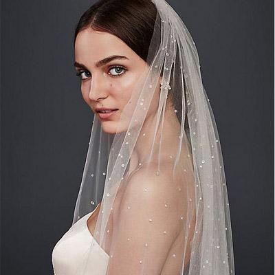 Shining Tulle Long Wedding Veil With Beadings,WV0121