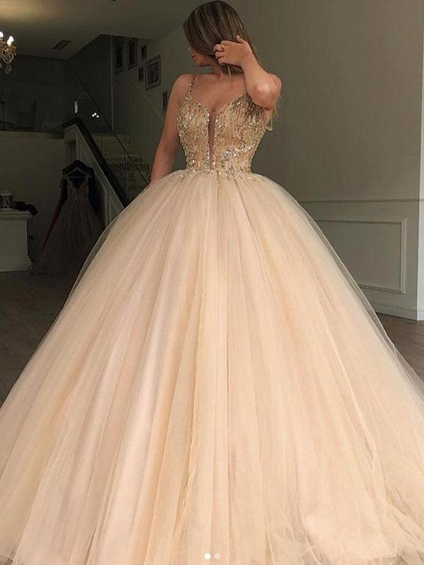 Spaghetti Straps Beaded Ball Gown Tulle Cheap Long Evening Prom Dresses, QB0366