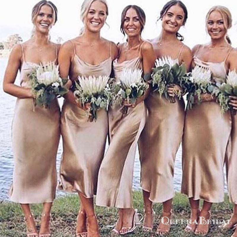 Sheath Spaghetti Straps Tea Length Champagne Bridesmaid Dresses, QB0710