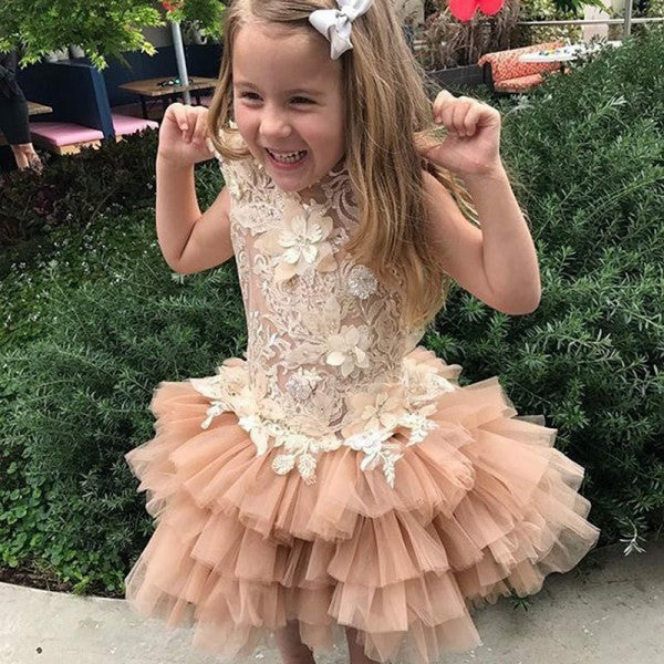 Cute Jewel Tiered Flower Girl Dresses with Lace Appliques, QB0092