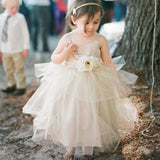 Ball Gown Spaghetti Straps Tulle Cheap Flower Girl Dresses, QB0089