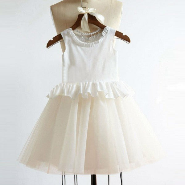 Cute Round Neck Tulle Long Cheap Flower Girl Dresses with Ruffles, QB0105