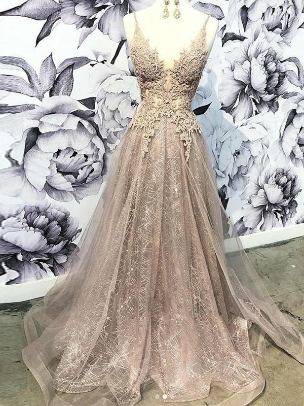 Champagne Long V Neck Appliques Prom Dresses With Beading, QB0612
