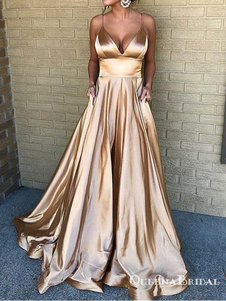 c1aa242e7528 A-Line Spaghetti Straps Long Champagne Prom Dresses with Pockets, QB0524