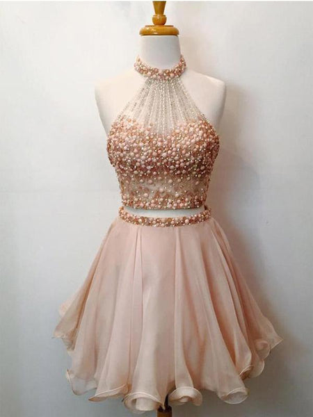 Two Pieces Beading Short Cheap Homecoming Dresses Online, CM572