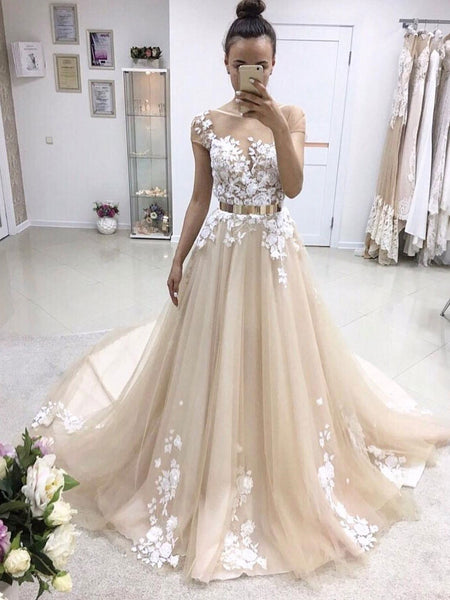 Short Sleeve Illusion Lace A-line Cheap Wedding Dresses Online, WD347