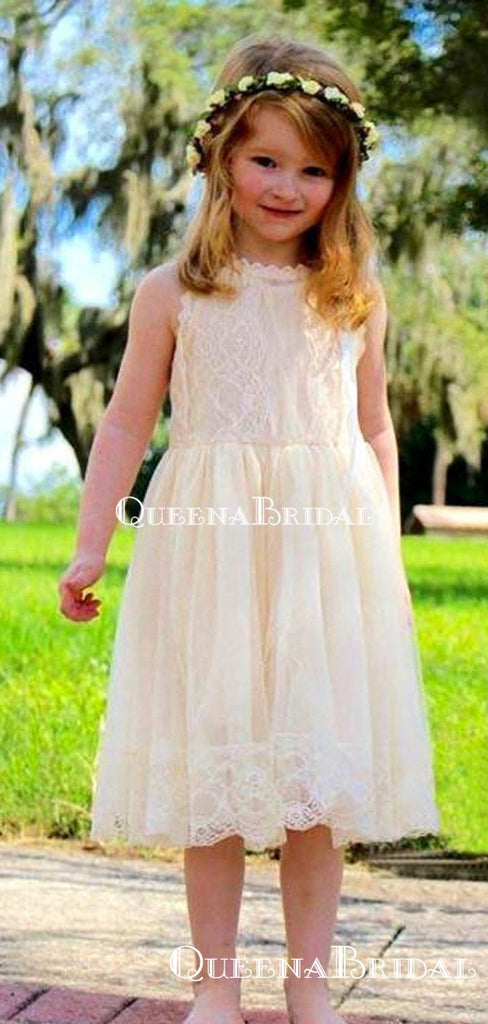 Cute Round Neck Light Champagne Lace A-line Long Cheap Flower Girl Dresses, FGS0024