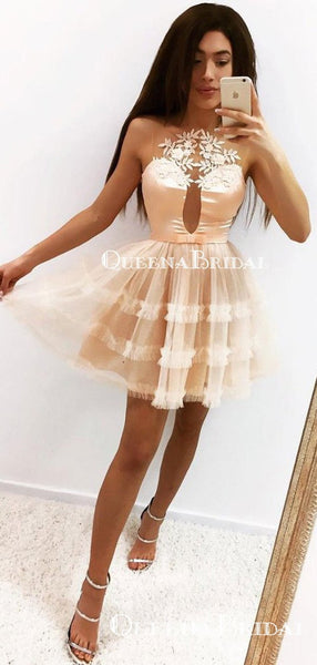 Champagne Halter Tulle A-line Short Cheap Party Homecoming Dresses, HDS0022