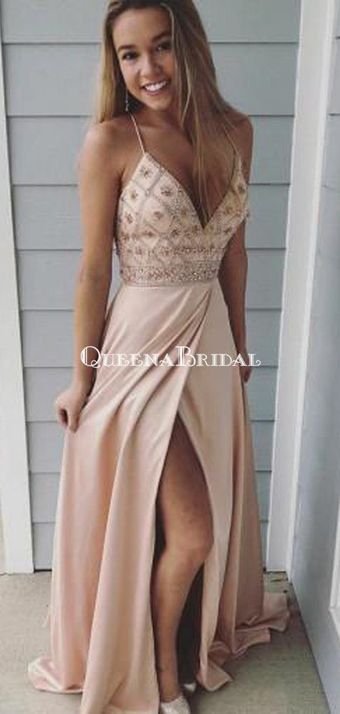 Side Slit Champagne Spaghetti Straps Long Evening Prom Dresses, Cheap Sweet 16 Dresses, PDS0082