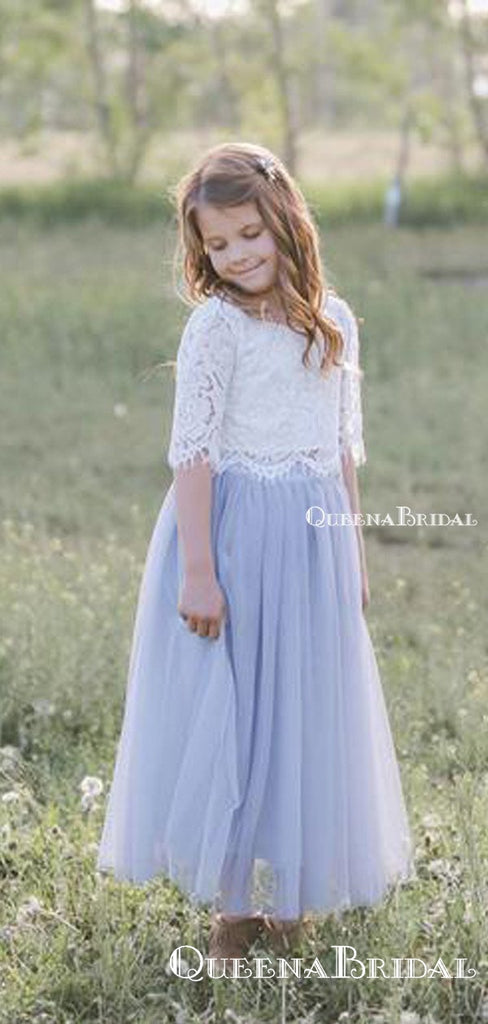 Cute Two Piece Half-Sleeves Tulle Long Cheap A-line Flower Girl Dresses, FGS0002