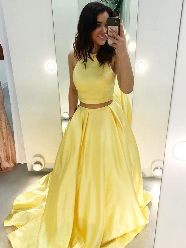 Cheap Two Piece Yellow Satin Formal Halter Long Simple Prom Dresses, QB0287