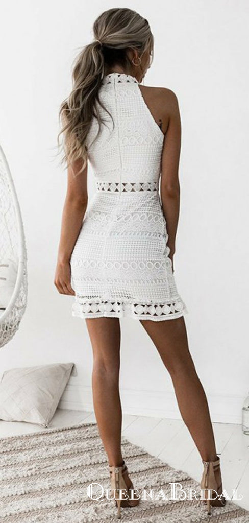 Sheath High-Neck Sleeveless Short White Lace Homecoming Dresses, QB0864