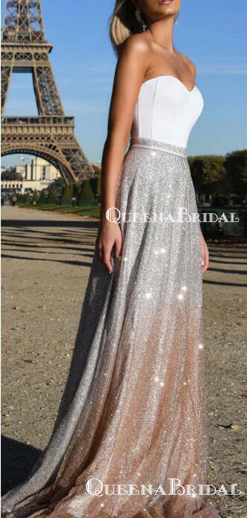 Sweetheart Charming Elegant Sparkly Silver Champagne Oberm A-line Long Cheap Evening Prom Dresses, PDS0023