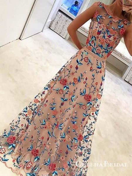 New Style Popular A Line Sleeveless Long Prom Dresses with Embroidery, QB0551