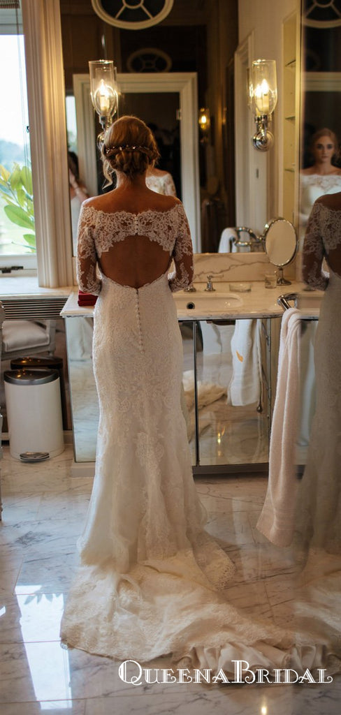 Elegant Off Shoulder Long Sleeve Lace Long Cheap Wedding Dresses, QB0855