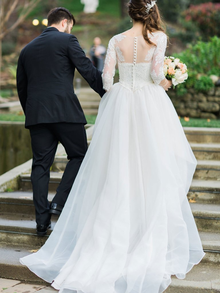 Long Sleeves Organza A-line Wedding Dresses Online, Cheap Simple Bridal Dresses, QB0382