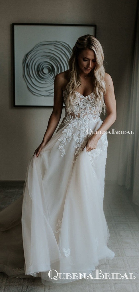 Elegant Sweetheart Off-White Tulle Lace Appliqued A-line Long Cheap  Wedding Dresses, WDS0004