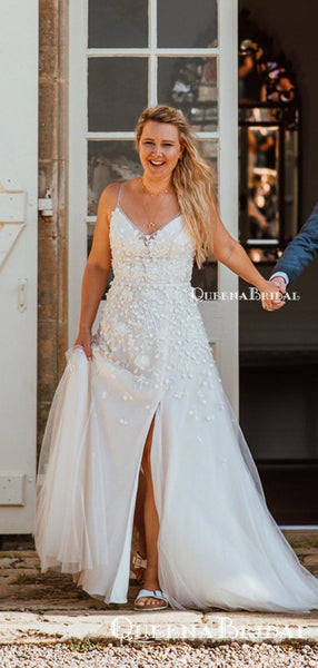 Charming V-neck Spaghetti Strap Off-White Tulle Lace Appliqued Long Cheap Wedding Dresses, WDS0001