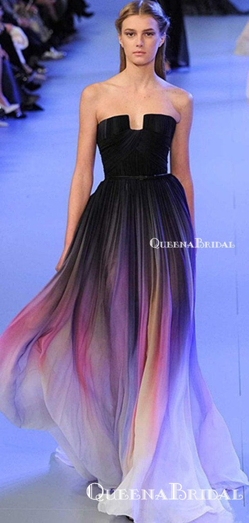 Cheap Strapless Black Ombre Chiffon Sexy Backless A-line Long Cheap Formal Evening Prom Dresses, PDS0057