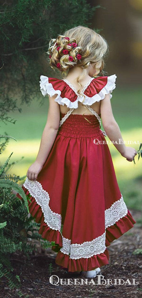 Cute Square Neck Red Satin High-low Long Cheap Flower Girl Dresses, FGS0006