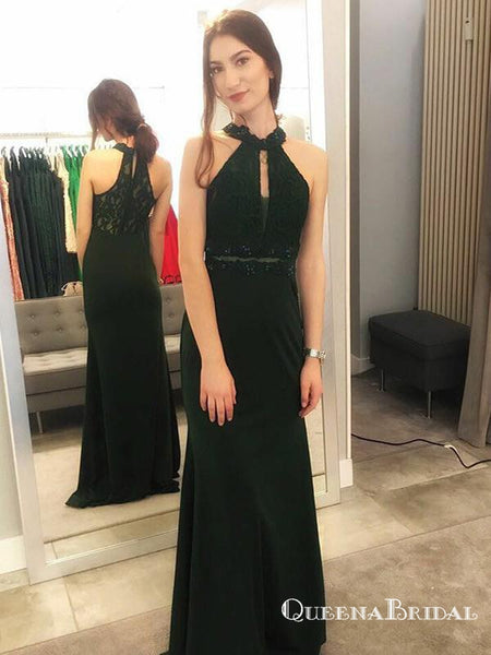 abb6117f11a9 Mermaid Halter Long Dark Green Prom Dresses with Lace Keyhole, QB0515