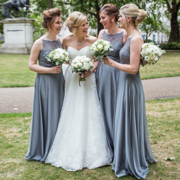 Elegant Round Neck Long Cheap Dark Grey Satin Bridesmaid Dresses with Lace, QB0173