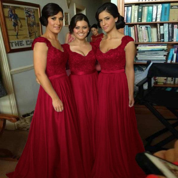 d2a52741d27 Scoop Sleeveless Long Cheap Dark Red Chiffon Bridesmaid Dresses with  Appliques