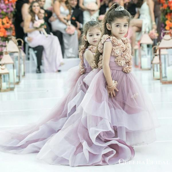 Pretty Round Neck Sweep Train Dusty Pink Cheap Flower Girl Dresses With Handmade Flowers, QB0091
