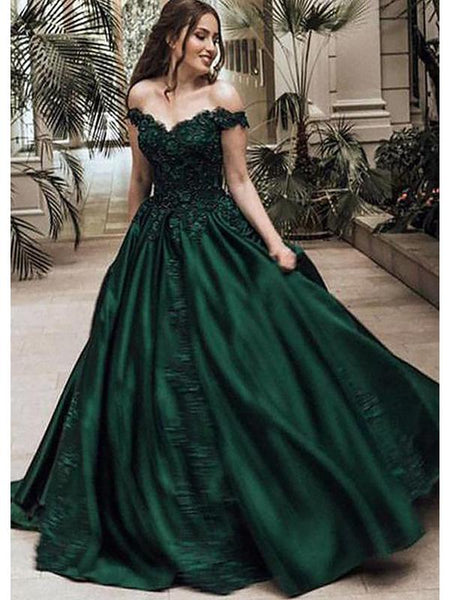 Charming Custom Off Shoulder Dark Green A-line Long Evening Prom Dresses, QB0374